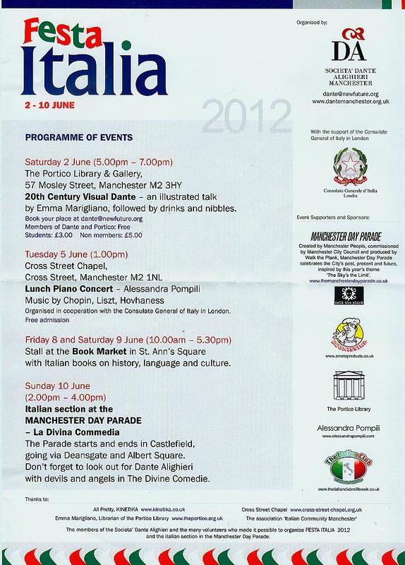 Volantino stampato in occasione della Festa Italia 2012
